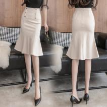 skirt Summer 2021 S,M,L,XL,2XL,3XL,4XL,5XL Black, red, khaki, apricot Mid length dress Versatile High waist Ruffle Skirt Solid color Type X 18-24 years old Et 71% (inclusive) - 80% (inclusive) knitting Ruffles, buttons, zippers, resin fixation