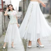 skirt Summer 2020 Average size Off white longuette commute High waist Irregular Solid color Type A 35-39 years old 81% (inclusive) - 90% (inclusive) Chiffon Other / other Cellulose acetate Embroidery ethnic style 351g / m ^ 2 (including) - 400g / m ^ 2 (including)