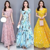 Dress Summer 2020 Yellow flower original high quality spot, pink flower original high quality spot, sky blue flower original high quality spot longuette singleton  Short sleeve commute Crew neck middle-waisted Decor Socket Big swing puff sleeve Others 30-34 years old Type H Other lady zipper Chiffon