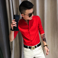 shirt Youth fashion Others M,L,XL,2XL,3XL Red, white, black Thin money stand collar elbow sleeve Self cultivation daily summer teenagers Polyester 100% tide 2021 Solid color Silk and satin No iron treatment polyester fiber other Easy to wear More than 95%