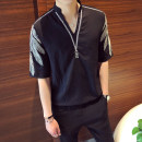 shirt Fashion City Others L,XL,2XL,M Black, white Thin money other elbow sleeve easy Other leisure summer youth Polyester 100% Exquisite Korean style 2021 other Color woven fabric No iron treatment polyester fiber Embroidery Soft Gloss  More than 95%