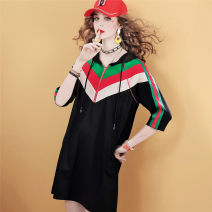Dress Summer 2021 Black stock (delivery within 48 hours) , Black Order S,M,L,XL Middle-skirt singleton  elbow sleeve commute Hood Solid color Socket A-line skirt routine Others 40-49 years old Type H maialika 71% (inclusive) - 80% (inclusive) other cotton