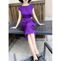Dress Summer 2021 violet S,M,L,XL,2XL Mid length dress singleton  Short sleeve commute Crew neck middle-waisted Solid color zipper One pace skirt routine Others 30-34 years old Type X MEXCOCO lady Ruffles, ruffles 81% (inclusive) - 90% (inclusive)