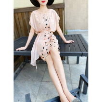 Dress Summer 2020 Pink orange S,M,L,XL Middle-skirt Fake two pieces Short sleeve commute Crew neck middle-waisted Dot zipper One pace skirt Flying sleeve Others 25-29 years old Type X MEXCOCO lady Lace up, stitching, mesh, printing M0XL1762