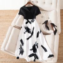 Dress Summer 2020 black M,2XL,3XL,4XL,5XL,L,XL longuette Fake two pieces Short sleeve commute V-neck Princess Dress 25-29 years old Korean version