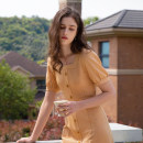Dress Summer 2020 Tangerine, tangerine pre sale S,M,L Mid length dress singleton  Short sleeve commute square neck High waist lattice Socket One pace skirt puff sleeve Others 18-24 years old Type H MELLIIY Retro Pleats, stitching, buttons, zippers 81% (inclusive) - 90% (inclusive) other