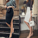skirt Spring 2021 XS,S,M,L,XL,2XL White, black Middle-skirt commute High waist Irregular Solid color T-type 25-29 years old JS-963 91% (inclusive) - 95% (inclusive) brocade nylon Asymmetric, zipper Ol style
