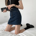 skirt Summer 2021 S,M,L navy blue Short skirt High waist skirt Type A 91% (inclusive) - 95% (inclusive)