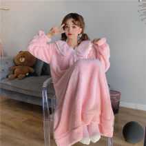 Nightdress Other / other Blue, pink Average size Sweet Long sleeves Leisure home longuette winter Solid color youth Small lapel other printing More than 95% Flannel 220g