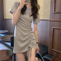 T-shirt Gray, black Average size Spring 2021 Short sleeve Crew neck Self cultivation Medium length routine commute cotton 31% (inclusive) - 50% (inclusive) Korean version Solid color Other / other Pleating