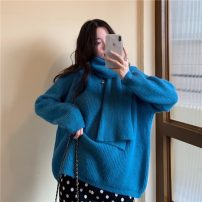sweater Winter 2020 Average size Apricot, red, blue, black Long sleeves Socket singleton  Super short other 31% (inclusive) - 50% (inclusive) Crew neck thickening routine Solid color