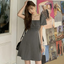 Dress Summer 2021 grey Average size Short skirt Short sleeve commute square neck Solid color routine Others 18-24 years old Korean version 30% and below polyester fiber