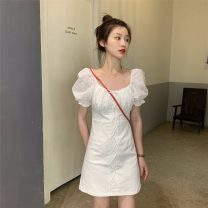 Dress Summer 2021 White, black S, M Middle-skirt singleton  Short sleeve commute other High waist Solid color zipper A-line skirt puff sleeve Others Type A Korean version Splicing