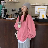 Sweater / sweater Winter 2020 grey , Navy , Pink , Baby blue Average size Socket Fake two pieces Crew neck easy routine 96% and above five thousand six hundred and eighty-three #