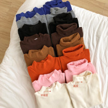 T-shirt Khaki, coffee, gray, white, blue, black, orange, pink Half high collar Winter of 2018 Long sleeves other Straight cylinder Regular commute other 96% and above Simplicity Solid color Other / other