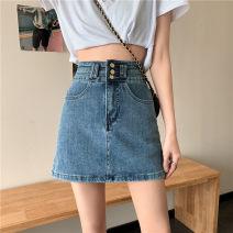skirt Spring 2021 S,M,L,XL Blue, black Short skirt commute High waist Type A 18-24 years old Korean version