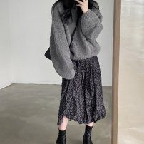 Fashion suit Winter 2020 Average size White sweater, grey sweater, red skirt, black skirt