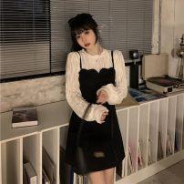 Dress Spring 2021 Shirt 3579, suspender skirt 3580# S. M, average size Short skirt Long sleeves commute Korean version