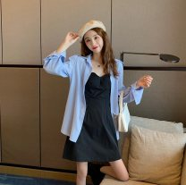 Fashion suit Summer 2021 M. L, average size Suspender skirt, white shirt, blue shirt