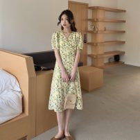 Dress Spring 2021 Pink , Fresh green S, M singleton  Long sleeves commute V-neck High waist Decor A-line skirt routine 18-24 years old Type A Korean version 81% (inclusive) - 90% (inclusive) other cotton
