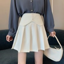 skirt Spring 2021 XS,S,M,L Gray, white, black Short skirt commute High waist Pleated skirt Solid color Type A 18-24 years old other zipper