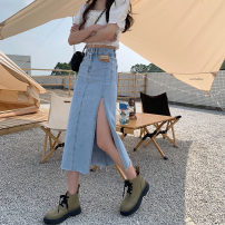 skirt Summer 2021 Medium length skirt A-line skirt commute 51% (inclusive) - 70% (inclusive) Korean version High waist 18-24 years old Type A S,M,L,XL Blue, black