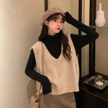 sweater Winter 2020 Average size Grey vest, apricot vest, coffee vest, black sweater as base Long sleeves Socket singleton  Super short other 95% and above V-neck Thin money Sweet routine diamond Straight cylinder Heavy wool 18-24 years old Hollowing out