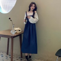 Fashion suit Spring 2021 Average size White top, apricot top, blue skirt, coffee skirt 18-25 years old 51% (inclusive) - 70% (inclusive)