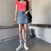skirt Summer 2021 S,M,L blue Short skirt commute High waist skirt Solid color Type A 18-24 years old 71% (inclusive) - 80% (inclusive) Denim pocket