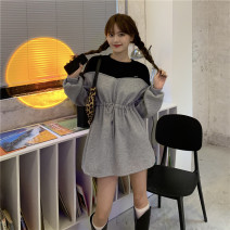 Dress Spring 2021 Gray, black Average size Middle-skirt singleton  Long sleeves commute Crew neck Loose waist Solid color Socket A-line skirt routine Others Type H Other / other Korean version 31% (inclusive) - 50% (inclusive) other cotton