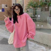 Sweater / sweater Winter 2020 Blue, pink, cherry blossom Average size Long sleeves Medium length Socket singleton  Plush commute 18-24 years old