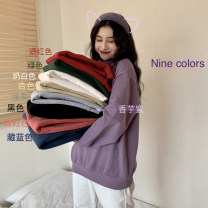 Sweater / sweater Winter 2020 Average size Long sleeves Socket Plush Half high collar lattice 30% and below cotton Cotton liner