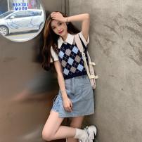 Fashion suit Spring 2021 S. M, l, average size Blue checked vest, red checked vest, white bear T-shirt, black skirt, light blue skirt 18-25 years old