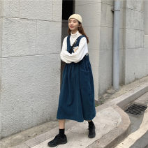 Dress Winter of 2019 Western style green strap skirt (single piece), Tibetan blue strap skirt (single piece), white high collar bottom (single piece) Average size Miniskirt Two piece set Sleeveless commute square neck Loose waist Solid color Socket other Others 18-24 years old Type H Korean version