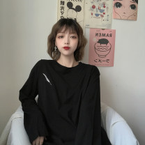 T-shirt White feather long sleeves, black feather long sleeves, light green feather long sleeves Average size Autumn 2020 Long sleeves Crew neck easy Regular commute cotton 96% and above Korean version
