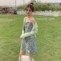 Dress Summer 2021 Suspender skirt, knitted jacket Average size Short skirt Two piece set Sleeveless Sweet A-line skirt camisole Type A