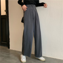 Casual pants S. M, l, average size Autumn of 2019 trousers loose  High waist commute routine 96% and above Other / other other Korean version