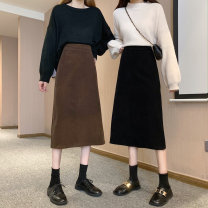 skirt Spring 2021 S,M,L,XL longuette commute High waist A-line skirt Solid color Type A 31% (inclusive) - 50% (inclusive) polyester fiber zipper Korean version