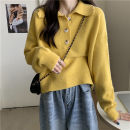 sweater Autumn 2020 Average size Lemon yellow, black, milk white, taro purple, light blue Long sleeves Socket singleton  Super short other 95% and above Polo collar thickening commute Solid color Heavy wool Keep warm and warm 18-24 years old