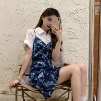 Dress Spring 2021 Blue print skirt, white shirt S. M, average size Short skirt singleton  Sleeveless street V-neck Solid color Socket routine 18-24 years old Type A 31% (inclusive) - 50% (inclusive) polyester fiber Sports & Leisure