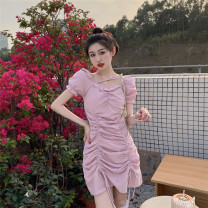 Dress Spring 2021 Pink, black S, M Short skirt singleton  Short sleeve commute square neck High waist Solid color Socket Princess Dress routine 18-24 years old Type H 51% (inclusive) - 70% (inclusive) cotton