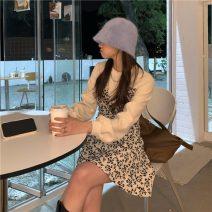 Dress Spring 2021 White, black Average size Miniskirt singleton  Long sleeves commute Crew neck bishop sleeve Korean version