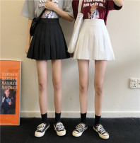 skirt Summer 2020 S,M,L White, black Short skirt commute High waist Pleated skirt Solid color Type A 18-24 years old 30% and below cotton Korean version