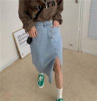 skirt Autumn 2020 S,M,L Blue, black and gray Mid length dress commute High waist A-line skirt Solid color Type A 18-24 years old 51% (inclusive) - 70% (inclusive) Denim Other / other cotton Button Korean version