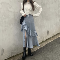 skirt Autumn 2020 Average size White, light blue longuette commute High waist Irregular Solid color Type A 18-24 years old 71% (inclusive) - 80% (inclusive) Denim Other / other Cellulose acetate Ruffles, asymmetric Korean version