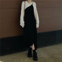Dress Autumn 2020 black Average size longuette Two piece set Sleeveless commute Crew neck High waist Solid color Socket other other camisole 18-24 years old Type A Other / other Korean version straps 81% (inclusive) - 90% (inclusive) Chiffon polyester fiber