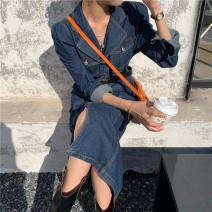 Dress Autumn 2020 navy blue S,M,L longuette singleton  Long sleeves commute Polo collar High waist Solid color Single breasted other routine Others 25-29 years old Type H Other / other Korean version Button 81% (inclusive) - 90% (inclusive) Denim cotton