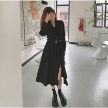 Dress Spring 2021 black S,M,L Mid length dress singleton  Long sleeves commute V-neck High waist Solid color Socket A-line skirt routine Others 25-29 years old Type A Other / other Korean version Strap, button 91% (inclusive) - 95% (inclusive) brocade polyester fiber