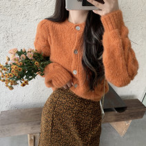 sweater Autumn 2020 Average size Long sleeves Cardigan singleton  Regular acrylic fibres 91% (including) - 95% (excluding) Crew neck Regular commute routine Solid color Straight cylinder Regular wool Keep warm and warm 18-24 years old Other / other Button acrylic fibres Single breasted