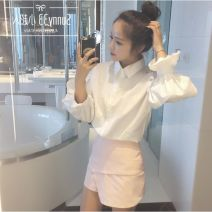 shirt White, white plush One size fits all, s (premium), m (premium), l (premium), XL (premium) Autumn of 2019 polyester fiber 96% and above Long sleeves commute Medium length Polo collar Single row multi button puff sleeve Solid color 18-24 years old Self cultivation Korean version